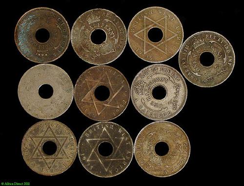 10 British West African Coins Nigeria African