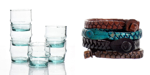 4-Beldi-Morocco-Design-Shop-on-Afri-love-Hand-blown-recycled-glasses-Leather-Braided-Bracelets