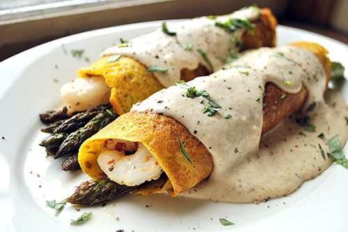Tarragon-Sweet-Potato-Crepes-with-Roast-Asparagus-and-Shrimp-topped-with-Parmesan-Cream-Sauce