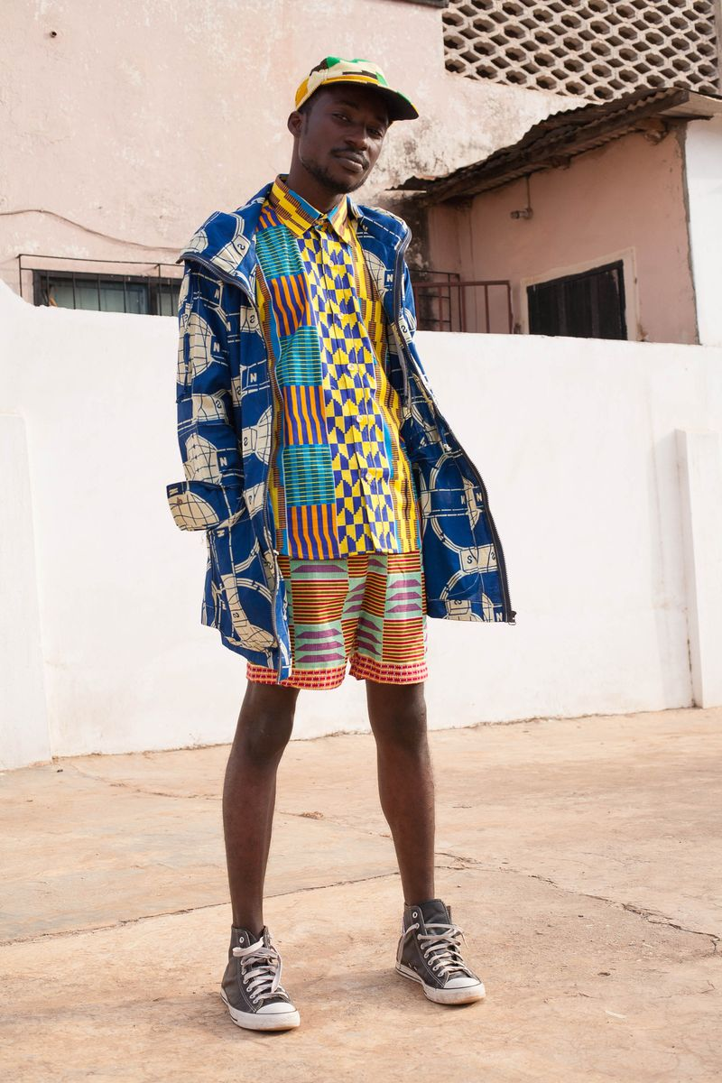 Yevu African Print Menswear Coat Shirt Shorts