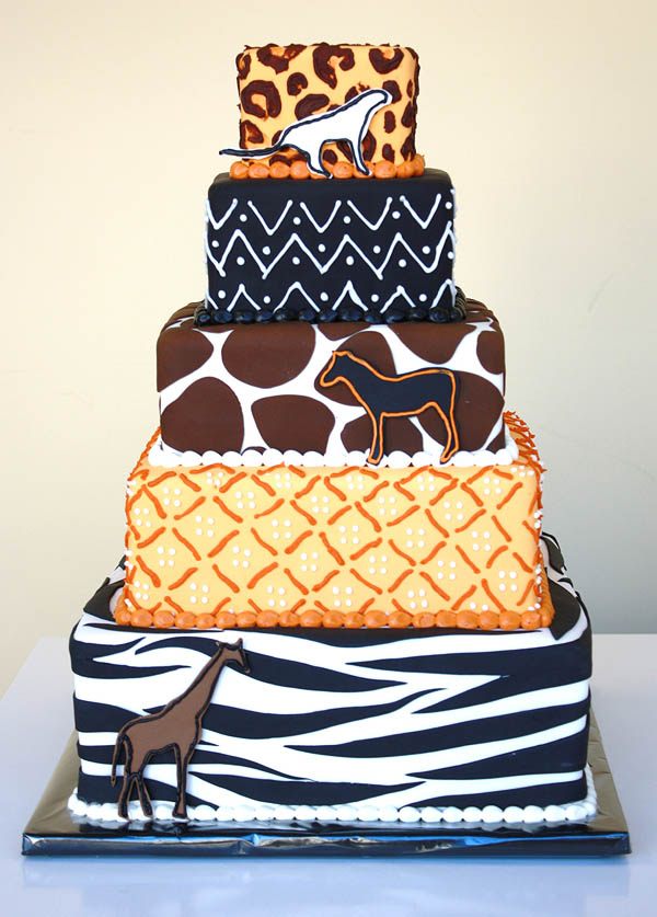 African Animal Print Tower Cake Suite