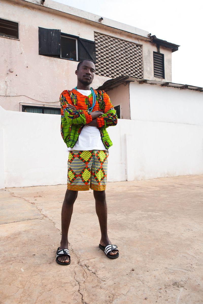 Yevu African Print Shorts Bomber Menswear