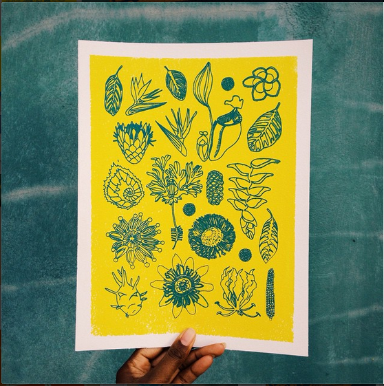Botanical Art Print Mini Creativity and Noise Lulu Kitololo